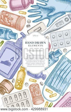 Card Design With Pastel Pills And Medicines, Medical Face Mask, Sanitizer Bottles, Medical Thermomet