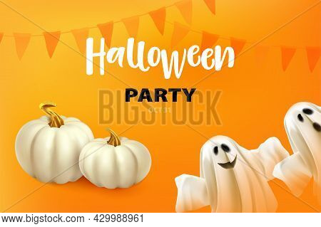 Happy Halloween. Poster Or Card With Ghost, White Pumpkins. Ghost On Orange Background With Hallowee