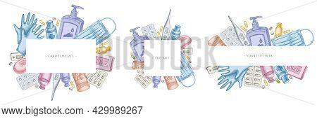 Frames With Pastel Pills And Medicines, Medical Face Mask, Sanitizer Bottles, Medical Thermometer, C