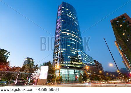 Santiago De Chile, Region Metropolitana, Chile - August 13, 2021:  Night View Of Skyscraper Titanium