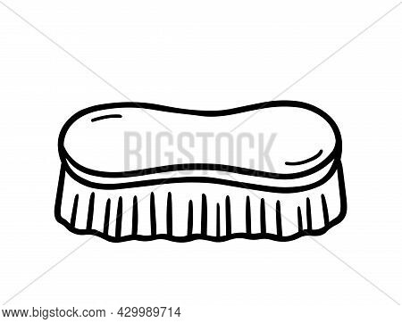 Wooden Scrub Brush For Cleaning Isolated On White Background. Vector Hand-drawn Illustration In Dood