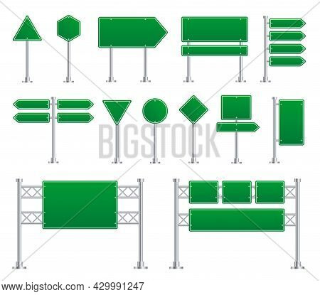 Green Road Sign. Board Directional Signs, Metal Highway And Street Boards. City Traffic Blank Banner