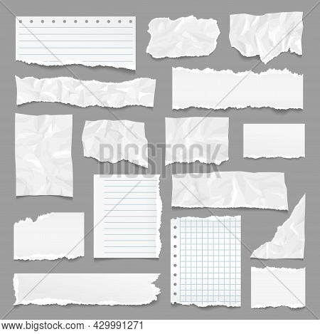 Ripped Pages. Torn Paper, Note Strips With Rip Edges. Notebook Page, Linear Textured Sheets. Realist