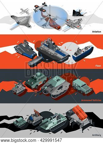 Military Equipment Horizontal Banners Set With Isometric Aviation Fleet Artillery Elements Isolated