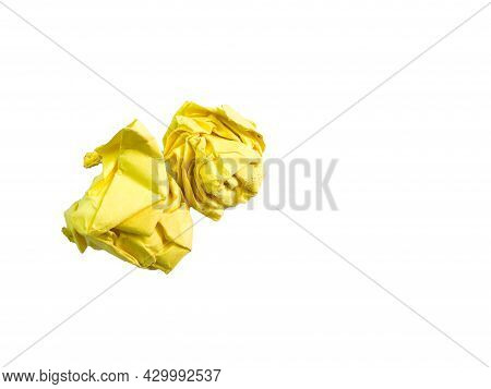 Yellow Crumpled Papers Isolated O A White Background