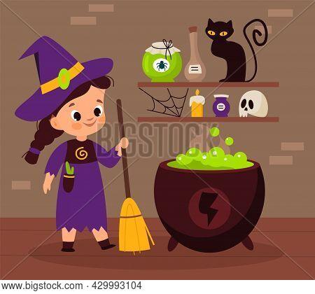 Halloween Witch. Sorceress Brewing Magic Potion In Cauldron. Cartoon Enchantress Holding Broom. Pot