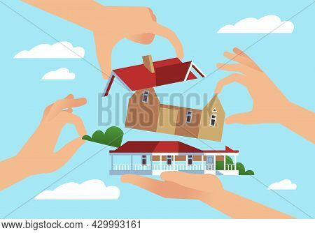 Own Construction With Your Hands. Dream House. Architecture Building From Parts. Arms Put Floors And
