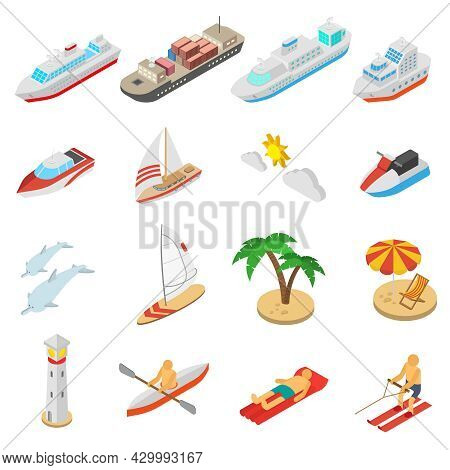 Ships Yachts Boats And Beach Vacation Isometric Icons Set Isolated Vector Illustration