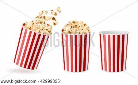 Realistic Bucket Popcorn. 3d Corn Snacks Paper Cups, Striped Red White Packaging Empty, Full, And Wi
