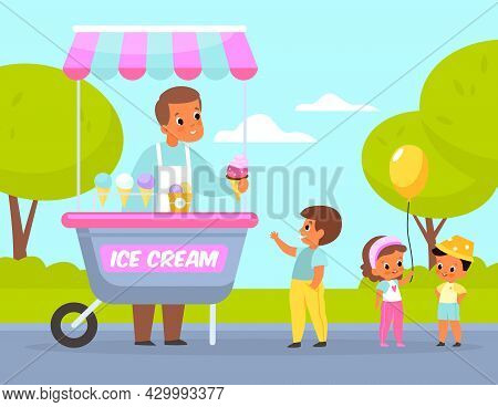 Ice Cream Park. Happy Children Buy Cold Desserts In City, Street Vendor With Cart, Sweets Seller. Fe