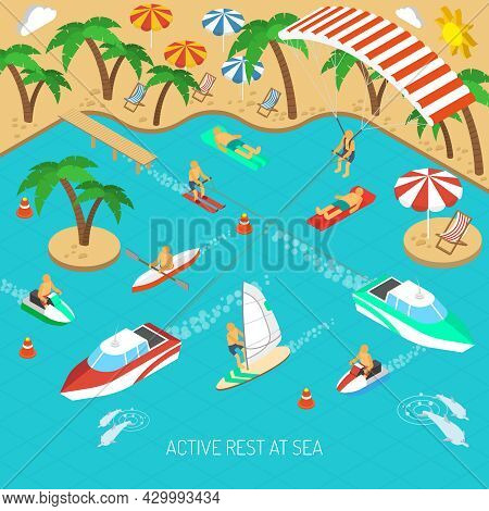 Active Rest At Sea And Beach Vacation With Umbrellas And Chaise Lounges Isometric Concept Vector Ill