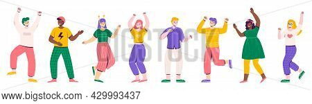 Party People. Dancing Women And Men Festive Characters, Cheerful Guys And Girls In Bright Fashionabl