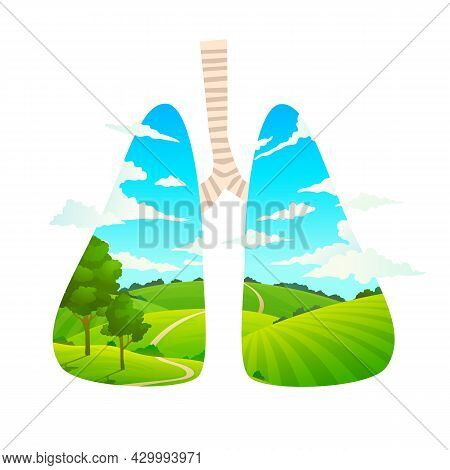 Breathe Fresh Air. Forest Is Lungs Of Planet. Cartoon Nature Landscape. Scenic Green Field And Clear