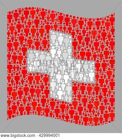 Mosaic Waving Swiss Flag Constructed With Men Icons. Vector Crowd Mosaic Waving Swiss Flag Designed