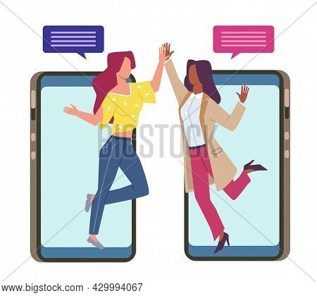 Friendly Chat. Online Messaging. Happy Women With Speech Bubbles. Mobile Communication Application.