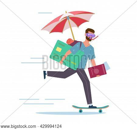Long-awaited Vacation. Man Is In Hurry To Rest. Happy Character Riding Skateboard. Worker In Diving