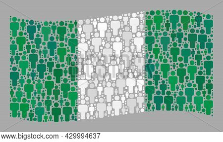 Mosaic Waving Nigeria Flag Constructed With Men Elements. Vector Population Collage Waving Nigeria F
