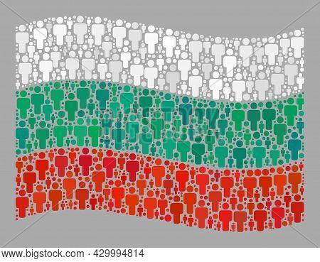 Mosaic Waving Bulgaria Flag Created With Human Elements. Vector People Collage Waving Bulgaria Flag