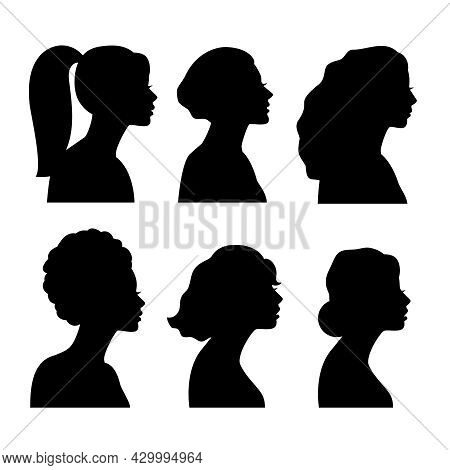 Young Girls Side Silhouettes. Ethnic Black White Girl Heads, Woman Fashion Models Blacks Persons, Be