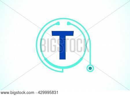 Initial T Monogram Alphabet With Doctor Stethoscope. Vector Stethoscope Logo Or Icon. Logo For Medic