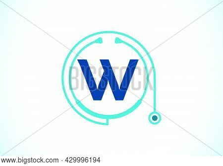 Initial W Monogram Alphabet With Doctor Stethoscope. Vector Stethoscope Logo Or Icon. Logo For Medic