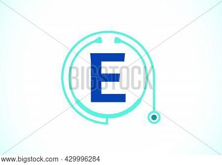 Initial E Monogram Alphabet With Doctor Stethoscope. Vector Stethoscope Logo Or Icon. Logo For Medic