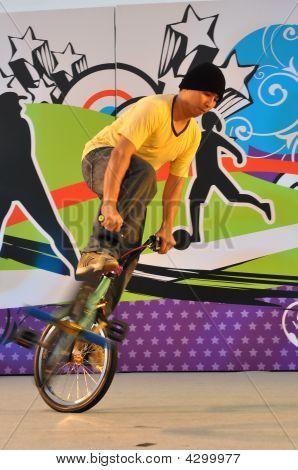 Bike Stunt During Youth Olympics Logo Launch
