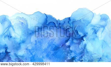 Abstract watercolor horizontal background. Marble texture. Alcohol ink blue colors.