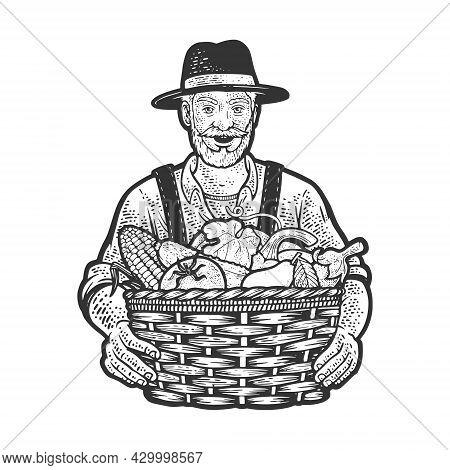 Farmer And Basket Of Vegetables Sketch Engraving Vector Illustration. T-shirt Apparel Print Design.