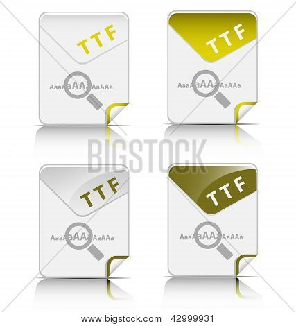 Creative and modern design TTF file type icon poster