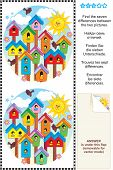 Picture puzzle: Find the seven differences between the two pictures of colorful spring birdhouses. Answer included. poster