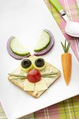 Bunny rabbit made from food with white plate and spoon on table cloth poster