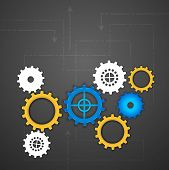 Abstract business background with cog wheel. EPS 10. poster