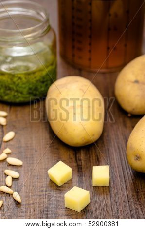 Potatoes And Ingredients For A Soup