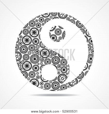 Group of gear make ying and yang symbol stock vector