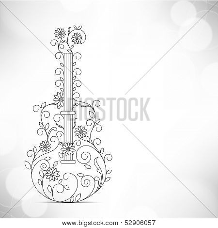 Musical guitar decorated with floral and musical notes, can be use as flyer, banner or posters for musical events.