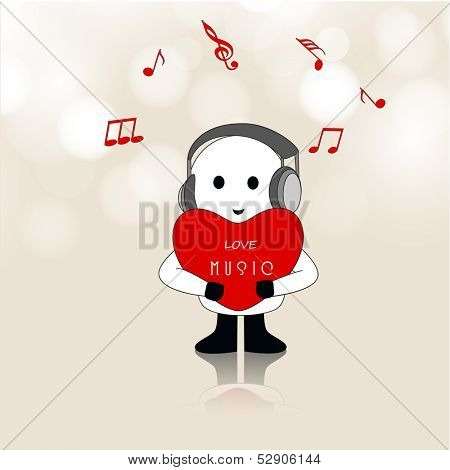 poster of Abstract musical background, cute smiling boy with headphone enjoying music.