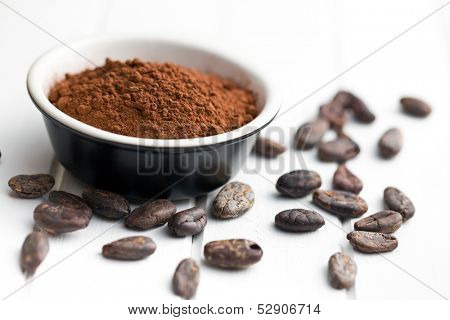 cocoa powder and cocoa beans on white wooden background