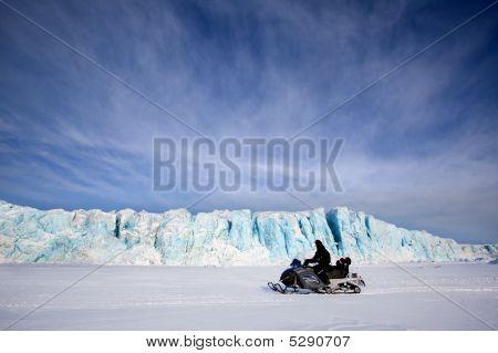 Glacier With Snowmobile