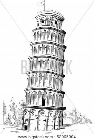 Sketch of Italy Landmark - Tower of Pisa