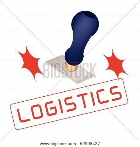 A Rubber Stamp With A Word Logistics