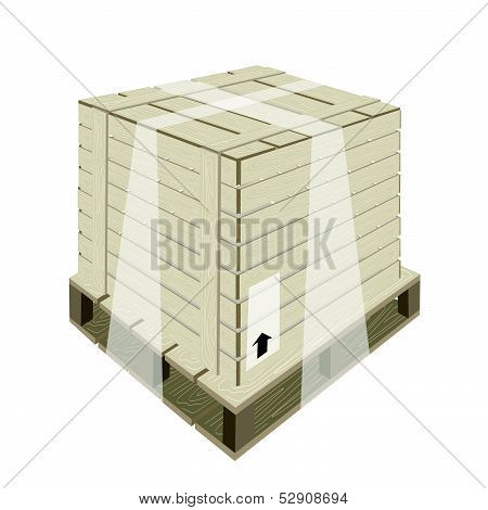 Shipping Box With Plastic Wrap And Steel Strapping