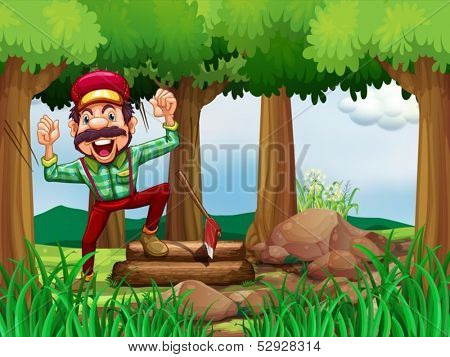 Illustration of a forest with a happy and a hardworking woodman