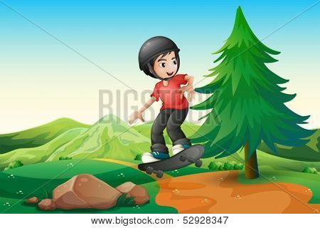 Illustration of a young boy skateboarding at the hilltop