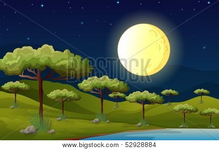 Illustration of a bright fullmoon lighting the forest