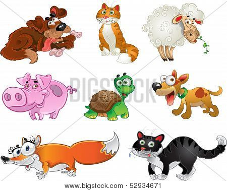 Bis set of funny pig, dogs, cats, sheep, tortoise and fox