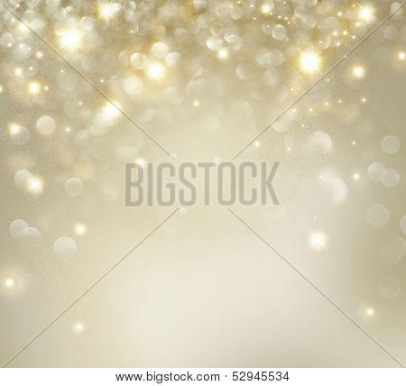 Fondo de Navidad. Vacaciones oro brillo abstracto había desenfocada fondo con estrellas parpadeando. Desenfoque