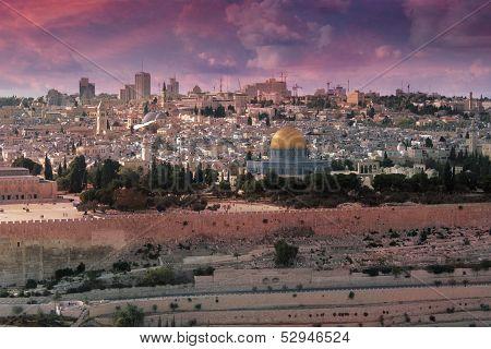 Jerusalem Sunset Colorful