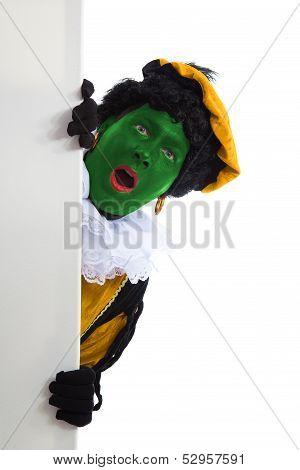 Groene Zwarte Piet ( Black Pete) Typical Dutch Character