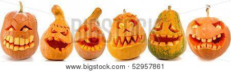 Set of Scary Jack O Lantern halloween pumpkins